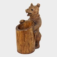 "Large 18"" Tall Black Forest Style Carved Wood Bear Figure, Glass Eyes, Caddy/Holder"