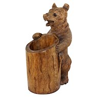"""Large 18"""" Tall Black Forest Style Carved Wood Bear Statue, Glass Eyes, Open Mouth,  Stand or Holder"""