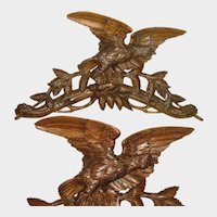 "26"" Antique Black Forest Hand Carved Wood Wall Mount Crop Hook / Hat Rack, Eagle with Pine Cones, Glass Eye"