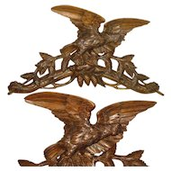 """26"""" Antique Black Forest Hand Carved Wood Wall Mount Crop Hook / Hat Rack, Eagle with Pine Cones, Glass Eye"""
