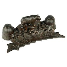 Antique Black Forest Hand Carved Wood Bear Inkwell Desk Stand