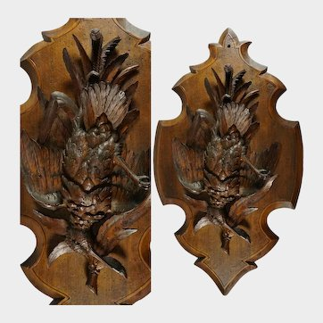 Antique Swiss Black Forest Hand Carved Wood Wall Plaque, Signed Ruef Brothers Brienz, Game Bird Trophy