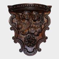 Antique Hand Carved Oak Wood Wall Shelf Sculpture Cherubs Angels Putti Wings