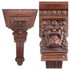 Large Antique French Hand Carved Solid Wood Wall Mount Shelf, Console, Bacchus & Fruit
