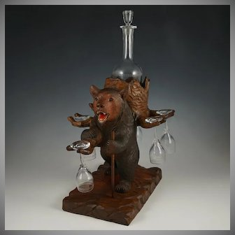 Large Black Forest Carved Wood Bear Liquor Tantalus, Stand, Wine Decanter & Cordial Glass Set