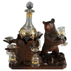 Antique Black Forest Carved Wood Bear Liquor Tantalus, Stand, Gilt Wine Decanter & Cordial Glasses Set