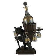 Antique Black Forest Carved Wood Hiking Bear Liquor Tantalus Stand, Wine Decanter & Cordial Glasses Set
