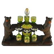 Antique Black Forest Carved Wood Liquor Tantalus, Stand | Pair of Twin Bears | Hand Painted Raised Enamel Decanter & Cordial Glasses Set