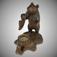 Antique Black Forest Carved Wood Bear Smoking a Pipe Figural Stand, Signed & Dated 1910