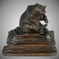 Black Forest Carved Wood Inkwell / Inkstand Bear Figure, Glass Eyes