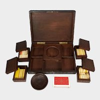 Antique Black Forest Game Box Hand Carved Wood Full of Gaming Tokens / Poker Chips, Playing Cards