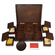 Antique Black Forest Hand Carved Wood Games Box, Gaming Tokens, Chips, Playing Cards