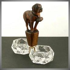 Antique Black Forest Carved Wood Salt Cellar, Figural Saint Bernard Dog