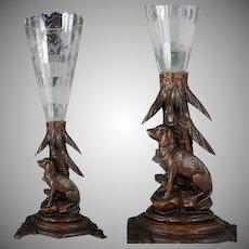 Antique Black Forest Hand Carved Wood Figural Dog Epergne Trumpet Vase Bohemian Hunting Theme Engraved Intaglio Glass