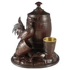 Antique Black Forest Hand Carved Wood Tobacco Cigar Humidor Jar / Box Country Rooster Farmhouse Decor