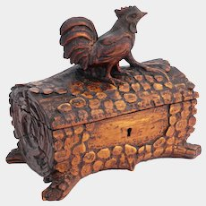 Antique Black Forest Hand Carved Wood Jewelry Box, Country Rooster Farmhouse Decor