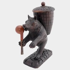 Antique Black Forest Hand Carved Bear Pipe Holder Stand Tobacco Humidor Jar Box, Glass Eyes