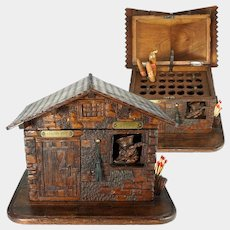 Antique Black Forest Hand Carved Wood Cigar Caddy, Box, Fox & Chalet, Cabin Figural Cabinet