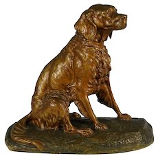 Antique French Bronze Sculpture Hunting Dog by CLovis Edmond MASSON, Seated Spaniel / Setter Statue