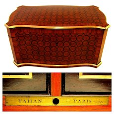 Antique French TAHAN Paris Signed Kingwood Parquetry Inlay Twin Tea Caddy Box