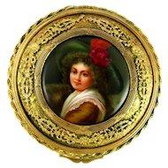 Antique Hand Painted Signed WAGNER Hutschenreuther Porcelain Portrait Plaque, Gilt Bronze Jewelry Box