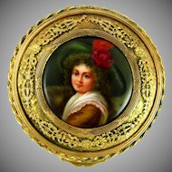 Antique Hand Painted Signed WAGNER Hutschenreuther Porcelain Portrait Plaque, Gilt Bronze Jewelry Box