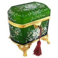 Antique French Hand Painted Enamel Cut Glass Gilt Ormolu Jewelry Casket Box
