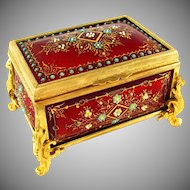Antique Napoleon III French Gilt Bronze Red Enamel Jewelry Casket Box