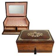 Large Antique French Scarf Box, Casket, Burl Walnut / Ebony Veneer Cashmere Chest, Brass & Pearl Inlay, Lock & Key
