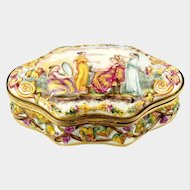 German Porcelain Capodimonte Royal Naples Style Bas Relief Jewelry Box