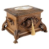 Antique Black Forest Carved Wood Cigar Caddy, Box, Porcelain Portrait Plaque