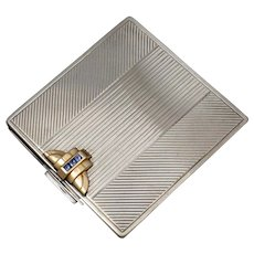 Art Deco Gorham Sterling Silver 14K Gold Sapphires Jeweled Compact Mirror