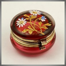 Antique Cranberry Glass Hand Painted Enamel Hinged Patch Box