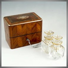 Antique French Perfume Casket, Parquetry Kingwood Inlaid Box, Baccarat Crystal Scent Bottles