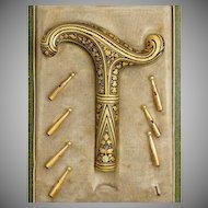 Antique Spanish Toledo Damascene Gold Parasol Umbrella Handle, Dress Cane, Boxed