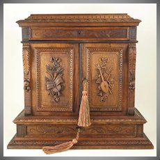 """Antique French Hand Carved Wood 15"""" Tall Table Top Cabinet, Multiple Drawers,  Jewelry Box Chest"""