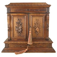 "Antique French Hand Carved Wood 15"" Tall Table Top Cabinet, Multiple Drawers,  Jewelry Box Chest"