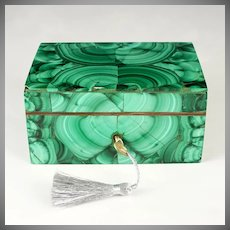 Antique Russian Malachite Stone Veneer Pietra Dura Specimen Jewelry Box Casket, Lock & Key