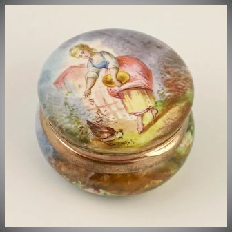 Antique French Enamel on Copper Hinged Snuff Box, Miniature Portrait of a Lady Feeding a Chicken