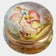 Antique French Enamel Hinged Snuff Box / Pill Box, Miniature Portrait of a Lady Feeding a Chicken