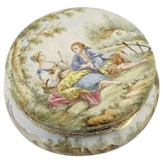 Antique French Enamel Snuff Box .800 Silver Hinged Mounts, Gold Vermeil Interior, Country Scene