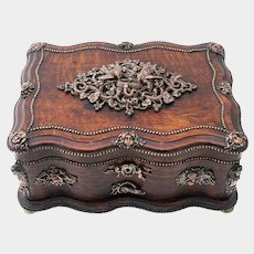 Antique 19thc French Oak Wood Jewelry Box, Casket, Birds & Snake Figural Bronze Appliques