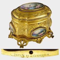 Antique French TAHAN PARIS Gilt Bronze Jewelry Casket Box, Hand Painted Porcelain Plaques