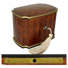 Antique French Signed TAHAN Paris Rosewood Parquetry Inlay Tea Caddy Box