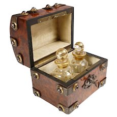 Antique French Perfume Caddy, Gothic Style Burl Wood Box, Glass Scent Bottles