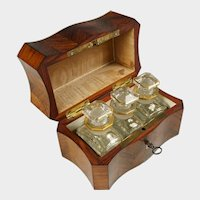 Antique French Perfume Caddy, Kingwood & Mother of Pearl Parquetry Inlay Wood Box, Baccarat Crystal Scent Bottles