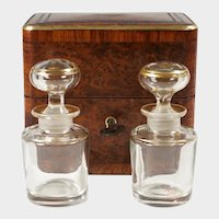 Antique French Perfume Caddy, Burl Wood & Brass Inlay Box, Baccarat Scent Bottles