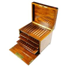 Antique French Thuya Burl Wood Cigar Caddy Table Box, Lockable Front Door