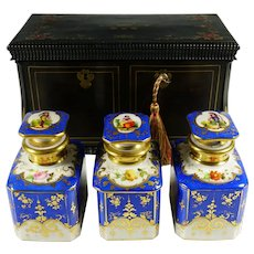 Antique French Inlay Wood Tea Caddy Box, Hand Painted Paris Porcelain Bottles Canisters