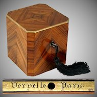 Antique French Tea Caddy Box Signed Vervelle Paris, Napoleon III Kingwood Marquetry Veneer, Lock & Key